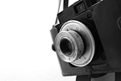 Vintage Russian Camera. Lens isolated on white background with a shallow depth of field royalty free stock image