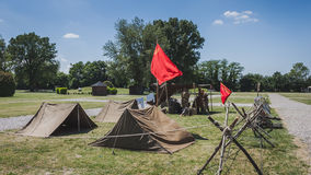 Vintage Russian camp at Militalia in Milan, Italy Stock Photo