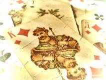 Vintage russian cards. Old vintage russian cards faded stock photo