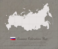 Vintage Russian Federation map. Paper card map silhouette. Vector. Illustration Royalty Free Stock Photos