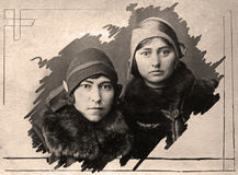 Vintage Russian sisters. Royalty Free Stock Image