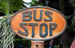 Vintage rusted Bus Stop Stock Photo