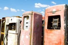 Vintage Rusted Gas Pumps Stock Photo