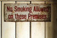 Vintage rusted No Smoking poster. Sign stock photo
