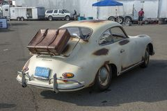 Vintage rusted porsche in display Stock Photo