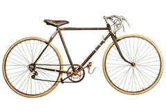 Vintage rusted race bike isolated on white Royalty Free Stock Photo