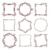 Vintage rustic branch frame borders, hand drawn vector set. Branch dry frame design, illustration of botanical frame pattern from branch stock illustration