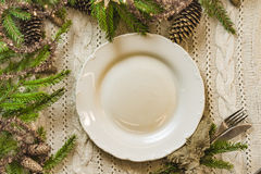 Vintage or rustic christmas table setting. Top view. Stock Image