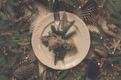 Vintage or rustic christmas table setting. Top view. Royalty Free Stock Photography