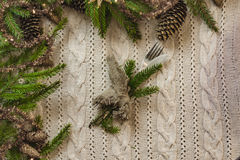 Vintage or rustic christmas table setting. Top view. Stock Photo