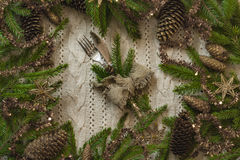 Vintage or rustic christmas table setting. Top view. Stock Images