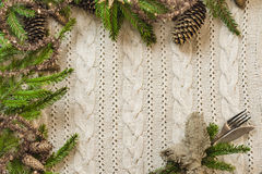 Vintage or rustic christmas table setting. Top view. Royalty Free Stock Image