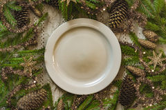 Vintage or rustic christmas table setting. Top view. Royalty Free Stock Photo