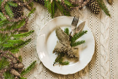 Vintage or rustic christmas table setting. Top view. Royalty Free Stock Photos