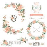 Vintage Rustic Floral Wreath Stock Photo