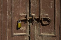 Vintage rustic gate and lock stock images