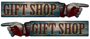 Wooden Gift Shop Sign with Pointed Finger Directional. Vintage Rustic Gift Shop Sign with Pointing Finger Directional Old West Style Saloon Country Store Royalty Free Stock Images