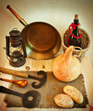 Vintage rustic kitchen utensils Royalty Free Stock Photo