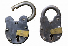 Vintage rustic locks isolated Stock Images