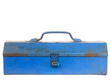 Vintage rusty blue steel tool box isolated Royalty Free Stock Photography