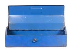 Vintage rusty blue steel tool box isolated Stock Photos