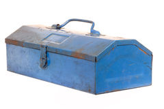 Vintage rusty blue steel tool box isolated Stock Photography