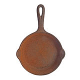 Vintage rusty cast iron skillet Stock Photo