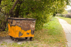 Vintage and rusty dustbin Stock Images