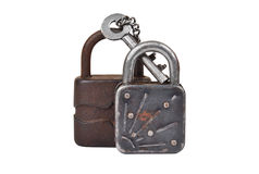 Vintage rusty lock and key Royalty Free Stock Photos