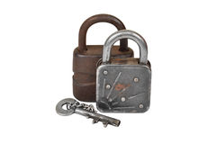 Vintage rusty lock and key Royalty Free Stock Images
