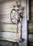 Vintage rusty manual vertical drill Royalty Free Stock Photos