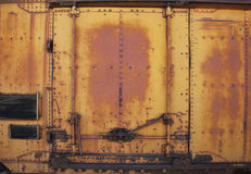 Vintage rusty metal train car door Stock Image