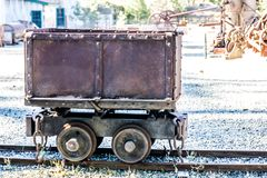 Vintage Rusty Mining Ore Cart. Old Vintage Rusty Ore Cart Once Used In Mining Operations royalty free stock images