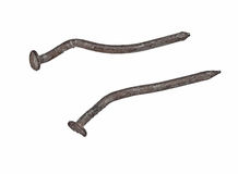 Vintage rusty nails over white Stock Image