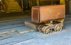 Vintage Rusty Ore Cart Used In Mining Operations. Vintage Rusty Ore Cart Once Used In Mining Operations On Display stock photography