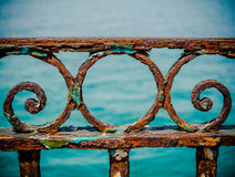 Vintage Rusty Railings. By The Sea In The Port Of Marseille, France Stock Photos