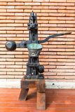 Vintage rusty steel and wooden wine bottle processing equipment Royalty Free Stock Images