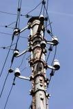 Vintage rusty telephone pole stock photo