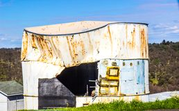 Vintage Crushed Water Tank With Open Side royalty free stock image