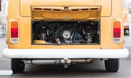 Vintage rv camper-van engine close-up. Vintage rv campervan engine close up, selective focus stock photo
