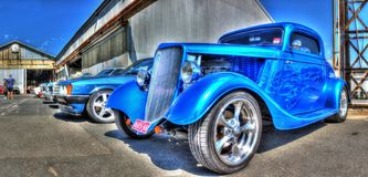 Vintage 1930s American car. Vintage blue 1930s American car on display at a car show in Melbourne, Australia Royalty Free Stock Photo