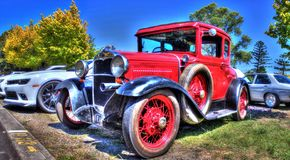 Vintage 1920s American car. Vintage 1920s red American car on display at a car show in Melbourne, Australia Stock Photos