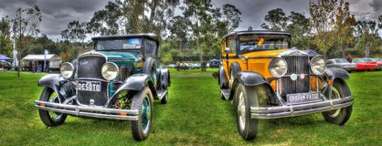 Vintage 1920s American cars. Vintage 1920's American cars on display at the Shannon's All American car show held at the Flemimgton race course in Melbourne Stock Images