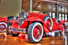 Vintage 1930s American Chevy Confederate. Vintage 1932 red American Chevy Confederate Moonlight Speedster convertible on display at Motorclassica a car show held Stock Photo