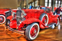 Vintage 1930s American Chevy Confederate. Vintage 1932 red American Chevy Confederate Moonlight Speedster convertible on display at Motorclassica a car show held Stock Photography