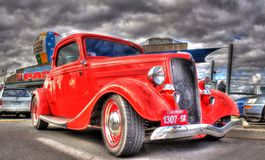 Vintage 1930s American Ford. Vintage 1930s red American Ford with suicide doors on display at car and bike show in Melbourne, Australia Stock Photography