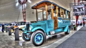 Vintage 1920s bus. Light blue vintage 1920s bus with destinations painted on side on display at the 2015 Australian Manufacturers Festival held in Melbourne Royalty Free Stock Photos