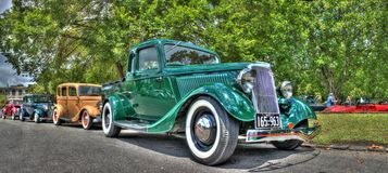 Vintage 1920s cars. Parked outside the 2016 Victorian Hot Road Show held at the Royal Exhibition Building in Melbourne Australia stock photography