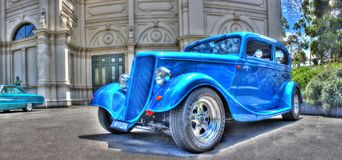 Vintage 1930s Ford Tudor. Vintage blue 1930s Ford Tudor on display at the 2016 Victorian Hot Rod show held at the Royal Exhibition Building in Melbourne Stock Image