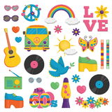 Vintage 1960s hippie style item set vector illustration